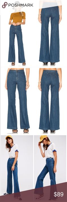 Free People Ray of Sunshine High Rise Flare Jeans Free People Ray of Sunshine Flare Jeans $128 retail brand new without tag, inner label marked, perfect condition. Details: For a vintage-inspired look these high rise flares are the perfect pair. Featuring a sunburst detailing on the backside, this no-pocket style has a button closure and zip fly. Wear with a pair of clogs to complete this blast from the past look.  Care/Import  Machine Wash Cold  Import  Measurements for size 27  Waist…