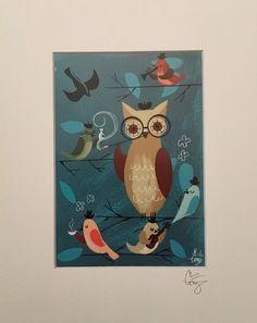 EL GATO GOMEZ PRINT MID CENTURY MODERN OWL MOD BEATNIK JAZZ BIRDS 1950S RETRO