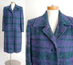 Long Wool Coat / Plaid Mohair Wool Boucle Coat / by shopgoodgrace, $84.00