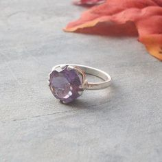 Amethyst Ring, Sterling silver ring, February birthstone, Handmade ring, Prong set ring