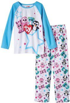 Girls 4-10 TY Beanie Boos Zoey, Pink, Leona & Waddles Raglan Perfect for sleepovers!! Pajama Set