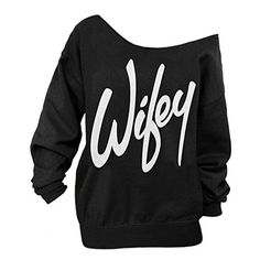 AJ FASHION Women's Wifey Shirt Letter Print Off the Shoulder Slouchy Pullovers >>> See this awesome image @