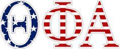 """Theta Phi Alpha American Flag Greek Letter Sticker - 2.5"""" Tall from GreekGear.com"""