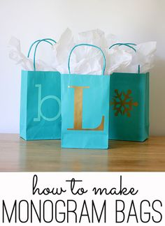 Easy Monogrammed Gift Bags on The Shabby Creek Cottage at http://www.theshabbycreekcottage.com/2013/11/monogrammed-gift-bags.html