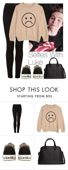 """""""Selfies with Luke"""" by lovatic92 ❤ liked on Polyvore featuring Topshop, Converse, MANGO, women's clothing, women, female, woman, misses and juniors"""