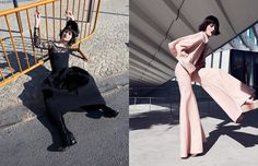 Body / I.D. Sarrieri Cap / Karl Lagerfeld Dress / Micol Ragni Necklace / Joumanna Boots / Kat Maconie X Roberta Einer Opposite Trousers & Jacket / Xiao Li