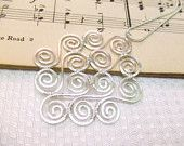 Spiral Pendant Wire Wrap Pendant Necklace Wire Wrapped Jewelry Silver Hammered Spirals Jewelry Gifts Under 30