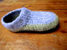 Felted crochet slipper from Moss Crochet