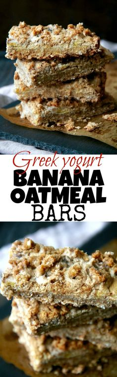 These soft-baked Greek Yogurt Banana Oatmeal Bars are gluten-free, refined-sugar-free, and made without any flour, butter or oil! A deliciously healthy breakfast or snack bar! Banana Oatmeal Bars, Oatmeal Breakfast Bars, Yogurt Breakfast, Healthy Baking, Healthy Treats, Healthy Desserts, Healthy Cookies, Healthy Food, Desserts Sains