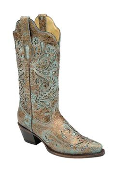 Corral Women's Bronze and Turquoise Glitter Inlay Cowgirl Boots