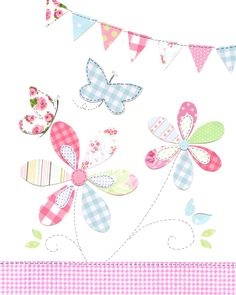 Flowers and Butterflies Nursery Art - Pink, Green and Blue Nursery Decor - Nursery Art - Cute Baby Nursery Art Butterfly Nursery, Baby Nursery Art, Butterfly Print, Nursery Decor, Sewing Appliques, Applique Patterns, Applique Designs, Baby Set, Pink Rug