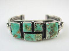 Navajo Sterling Silver & Royston Turquoise Cuff Bracelet IDA McCRAY