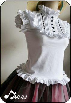 9a765d78fdb0 $31.50 ~ Ruffly Cutsew ~ HMHM ~ comes in white or pink Rococo Fashion,  Lolita