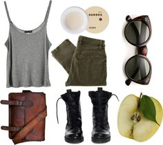 olive pants and brown leather bag