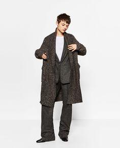 LONG COAT WITH DRAPED NECK from Zara