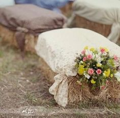 Quick-upholstered bails of hay make for charming, rustic seating.