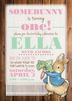Celebrate your little one with this sweet Peter Rabbit birthday invitation. All of the wording is customized to suit you. It can also be edited to accommodate a baby shower or other event. ENVELOPES ARE INCLUDED! A proof of the invitation will be sent to you before it is printed and you will be able to make changes, if necessary.  Printing Details: This listing is for 5 x 7 invitations printed on card stock with a flat finish (no glare or gloss). The processing time is approximately two…