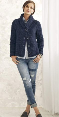 Cozy up in this soft textured knit cardigan. Oversized buttons give it signature style. Cozy up in this soft textured knit cardigan. Oversized buttons give it signature style. Casual Fall Outfits, Fall Winter Outfits, Chic Outfits, Winter Fashion, Fashion Outfits, Fashion Trends, Emo Outfits, Punk Fashion, Lolita Fashion