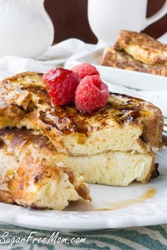 cloud bread french toast...use heavy whipping cream diluted with water instead of milk for low carb