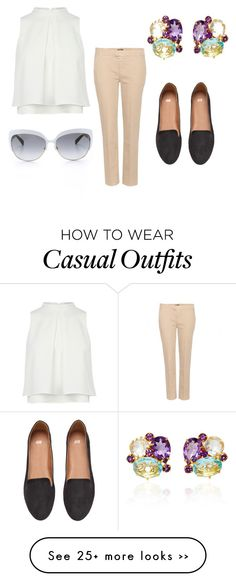 """Preppy casual"" by mia-linden on Polyvore featuring 7 For All Mankind, H&M, Kate Spade and Bounkit"