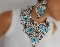 OOAK necklace black soutache necklace gift idea for by MagdoTouch