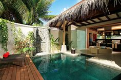 Getaway to this tropical retreat in the Maldives Bali House, Outdoor Rooms, Outdoor Living, Outdoor Decor, Swimming Pool Designs, Swimming Pools, Ideas De Piscina, Piscina Interior, Zen Style