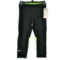 d658e4b155e5 Nwt New Under Armour UA Compression Crop Capris Capri Pants HeatGear Black  Women