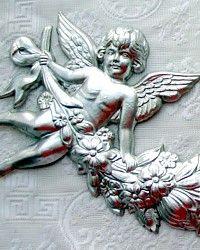 Vintage Silver DRESDEN Cherub Garland-antique,German,angels, putti, ephemera, victorian, scraps,