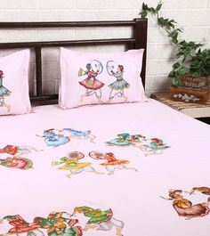 Pink Cotton Double Bedsheet With 2 Pillow Covers #indianroots #homedecor #bedsheet #pillowcover #cotton