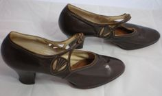 "Chocolate Brown Leather , Shapely 2"" Heels and Sassy Cut-Outs on the Sides, make-up this stylish Pair of Ladies Vintage Street Shoes , Circa 1920's"