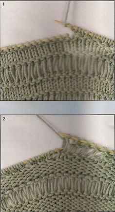 An elongated point can be made from the first pass and, repeating over all . Knitting Paterns, Knitting Designs, Knitting Stitches, Knit Patterns, Knitting Projects, Baby Knitting, Stitch Patterns, Crochet Woman, Knit Crochet