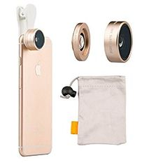 Amazon.com: iMoreGro® Universal Professional HD Camera Lens Kit 0.36x Super Wide Angle Lens + 15x Super Macro Lens for iPhone 6s/6s Plus,iPhone 6/6 Plus, iPhone 5 5S 4 4S Samsung HTC Other Smartphones(Gold): Cell Phones & Accessories
