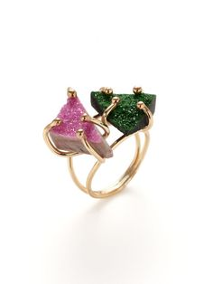 Cobaltcalcite & Uvarite Double Triangle Ring by Alanna Bess Jewelry on Gilt