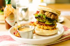 A bit of Chipotle Tabasco goes a long way in these Smokey Shrimp Burgers with Fried Oysters | A Thought For Food www.athoughtforfood.net