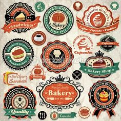 colección de etiquetas de los alimentos panadería grunge retro vintage, insignias y los iconos — Vector stock © Donnay #24052883