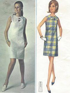 1960s Womens Shift Mini Dress Sleeveless with Yoke by CloesCloset