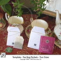 Printable Tea Bag Templates - Make your own paper wrappers for Tea packets, or tea bags - Download, print, cut and create - Do it yourself, DIY - Tea Bags -Gina Jane Designs - DAISIE Company