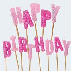 Happy Birthday Party Candles in Pink - Pink Frosting Party Supplies