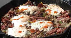 Corned Venison Hash with Fried Eggs