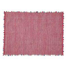 Teppich mit Pompons fuchsia 180x120
