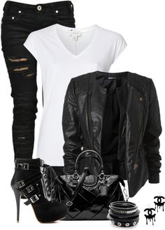 polyvore outfits | Polyvore # Outfits / Biker Chick by fashion-766 on Polyvore. I love the jeans, shirt and jacket. I wouldn't wear the heels and purse to school.
