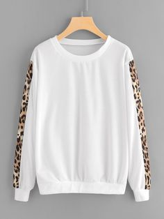 To find out about the Contrast Leopard Print Sleeve Sweatshirt at SHEIN, part of our latest Sweatshirts ready to shop online today! Hoodie Sweatshirts, Sweatshirts Online, Sweatshirt Outfit, Sweaters And Jeans, Long Sleeve, Sleeves, Outfits, Shopping, Clothes