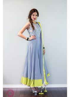 New Gray & Yellow Net Designer Anarkali Suit $28.30