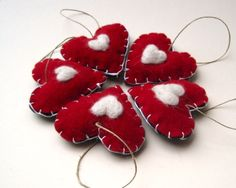 upcycled felt love ornaments set of 5 / red with needle felted white hearts (READY TO SHIP)
