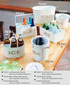 Beverage Caddies & Ice Buckets - Bright White Finish #buckets #beverage #beer #wine
