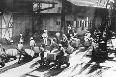 Coolies at a wharf, circa 1935.