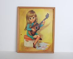 Vintage 60s MOD Eve Big Eye Girl Pop Art Print