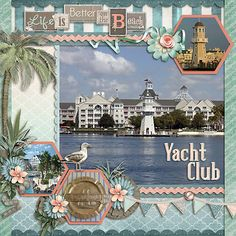 #papercraft #scrapbook #layout #travel Made with Natalie's Place Designs 'Beachy Keen' kit and MJAJ Designs Template #76