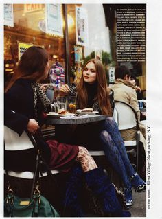 girls in boots at sidewalk cafes