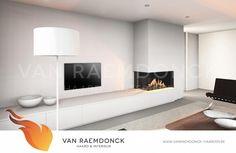 Strakke haardmantel met kasten - Van Raemdonck Haarden